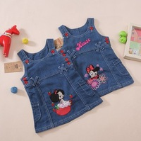 new 2015 spring summer kids girl blue kitty minnie cartoon print casual vest jeans dress children letter denim dresses clothes