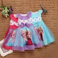 New come 5pcs Children girl's  summer sleeveless princess bowknot frozen lace dress 3colors 31500