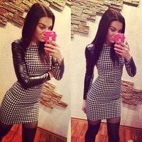 Top Quality 2014 Fashion women white and black pu long sleeve mini dress celebrity Party Dresses wholesale