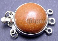 SALE Big 18mm Round Natural Gold Flash Agate Three strands Clasp-gp186 wholesale/retail Free shipping