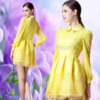Spring 2015 Ol elegant slim peter pan collar long-sleeve organza puff  one-piece women  dress