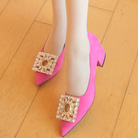 Women Jeweled High Heels Black Hot Pink Suede Pointed Toe Medium Thick Chunky Heel Shoes Rhineston Pumps Tb0447