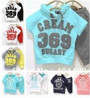 2014 Free shipping hooded T-shirt+pant CREAM 369 SUGARY children set, wholesales