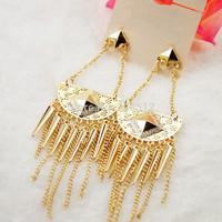 Big discount European gold plated rivet chandelier earrings long chains tassel dangle earrings statement jewelry