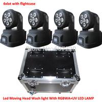 Free Shipping 4 Pack + Flightcase Led Moving Head Light Dj wash Effect light with RGBWA UV  Led lamp stage lighting