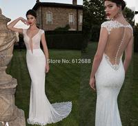 Romantic Brand vestido de noiva Plunging V-neck Lace Beaded Sexy Open Back Chapel Train Mermaid Wedding Dresses 2015