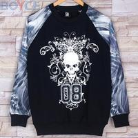 2015 Winter Fleece Cotton Punk Skull Sweatshirt Pullover Men Hip-Hop Black/White Flower Blazer Coat New Fashion Hip Hop Hoodies
