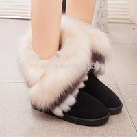 New Fashion High Quality Fashion Rubber Soles Winter Warm Artificial Fox Snow Boots Women Tassel Ankle Shoes Ladies Botas