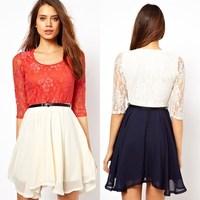 2015 autumn/spring fashion women basic dress plus size women lace dress S-XL 2 color half sleeve casual dress for lady G344Y