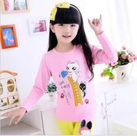new arrive baby girls cute cat printing shirts flower girl long sleeve princess shirt children fashion casual T-shirt JL-2177