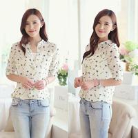 2015 New Summer Women Long Sleeve Bird Print Chiffon Shirts Fashion Slim Blouses Shirts for Women B-2071
