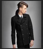 FREE SHIPPING Men Bussines Wool Coat  Winter Casual Dress Men's Ovim Outwear Long Design Double Breasted Wool Men Coat M~XXL