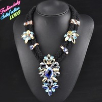 Rope fashion hand weave statement vintage choker crystal pendant necklaces for women 2015 High quality crystal necklaces 4524