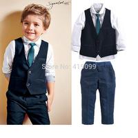 baby boys autumn sets kids handsome clothing sets children garments long sleeve 4pcs/set(T-shirt+pants+tie+clothes )