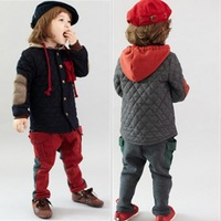 2015 Spring Winter boy causal clothing Kids warm patchwork cotton padded coat children fashion thin parkas Free Shipping WXT345
