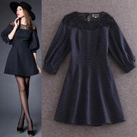 2015 women's fashion lace patchwork lantern half sleeve  polka dot print fashion one-piece dress
