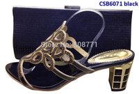Fashion women's sandal 6cm high heel  shoes matching  bag  CSB6071 black