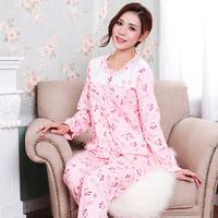 Spring Autumn Women knitted cotton sleep set pajamas women sleepwear ladies nightwear long-sleeve print lounge