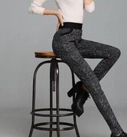 2015 Antumn winter pants for ladies long plaids fashion pants trousers legging women clothing Plus thick velvet silm pants S-3XL