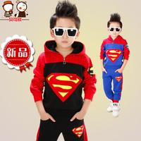 Children's clothing 2014 autumn male child set child long-sleeve casual set super man kids clothes