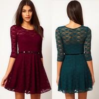 plus size women lace dress autumn/winter fashion women baisc dress S-XL 4 color high quality slim casual dress for lady G347Y