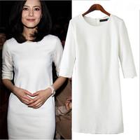 2015 Trendy Woman Desigu  Dresses Shaper Tropic Pencil Dress Round Neck Warm Dress White Spring Autumn Cheap Cloth China