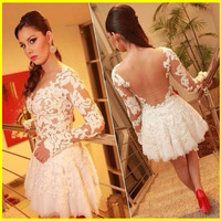 2014 New Vestidos Femininos Slim fit Design White Crochet Sexy Lace Bandage Dress Women long sleeve backless Prom Party dress
