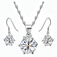 Shiny Crystal Set 100% 925 Silver Jewelry Sets Sterling Silver Jewelry set for Women Christmas Gift Free Shipping