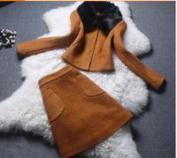 2015 new Europe Fashion Women's woolen fur collar Skirt Suit Set Casual Two Piece Clothing Set autumn Winter  Top+Skirt Set