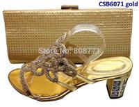 Fashion women's sandal 6cm high heel  shoes matching  bag  CSB6071 gold