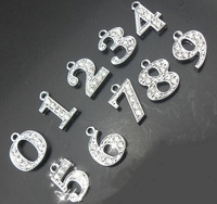 Wholesale 200pcs/lot 0-9 rhinestones number pendant hang charm fit for diy phone strips