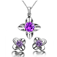 100% 925 Silver Jewelry Sets Sterling Silver Jewelry set for Women Purple Clover Necklace with CZ Set Free Shipping