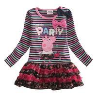 Fashion Apparel costume stripe children clothing Princess girls dresses autumn baby kids clothes girls HOT peppa pig dress HA082