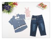 baby kids summer sets short sleeve suits 2pcs/set(T-shirt+pants)children summer wear strip print T-shirt