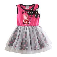 Peppa pig children sleeveless print dresses for infant Cotton Baby Girl Polka Dot princess Dress girls clothes summer 2015 HA059