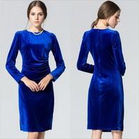 Six Color Elegant Women Long Sleeve Bodycon Dress Slim Femal Work  Dress vestido longo de festa