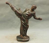 bir 003461 8'' China Shaolin Monk Play Kungfu Gongfu Martial Arts Bronze Statue