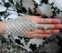 Silver Plated Full A Grade Crystal Rhinestone Hand Chain Link Bracelet Slave Finger Ring Adjustable