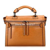 Women's 100% Genuine Leather  Vintage Handbag Leather Tote Bag Shoulder Bags Motorcycle bag Valentine Gift