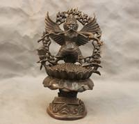 bir 003456 10'' China Tibet Bronze Buddhism Protector Garuda Guardian Of Shakyamuni Statue