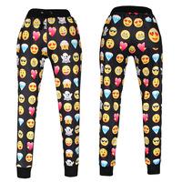 S - XL New emoji joggers 3d print pants funny cartoon sweatpants long trousers sportswear female jogging emoji pants Leggings