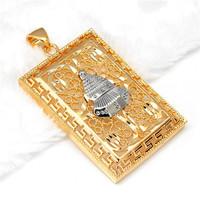 Min.mix order is $10 -- Arab MUHAMMAD 9K Gold Filled CZ Unisex Pendant greek nazar allah silver mosque in gold filligre