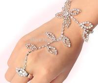 Silver Plated Leaf Flower Crystal Rhinestones Hand Chain Bracelet Slave Finger Ring Adjustable