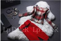 2015 new Europe Fashion Women's red plaid woolen belt Skirt Suit Set formal Two Piece Clothing Set autumn Winter  Top+Skirt Set