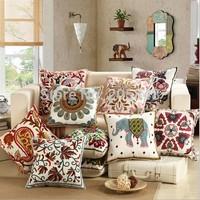 18Inch 45*45cm Embroidered Flower Cushion Cover High Quality Decorative Throw Pillow Cover Almofadas decorativas