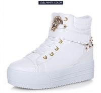 Zapato De Mujer Fashion Wedge Sneakers Women White Height Increasing High Top Platform Shoes Woman Black Sapatos Femininos