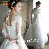 New Hot Sale Fashionable Sexy Luxury Backless Gown Lace Long Sleeve Bride Vintage Romantic Vestido De Noiva Wedding Dress WDF11