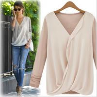 2015 new fashion women chiffon blouses and shirts loose casual shirt tops long sleeve loose ladies plus size freeshipping B-2072
