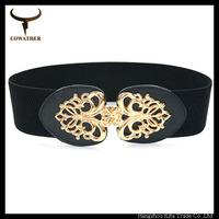 best selling dress decoration cummerbund gold mental buckle wide waist belt imitation leather cummerbund elastic band belt strap