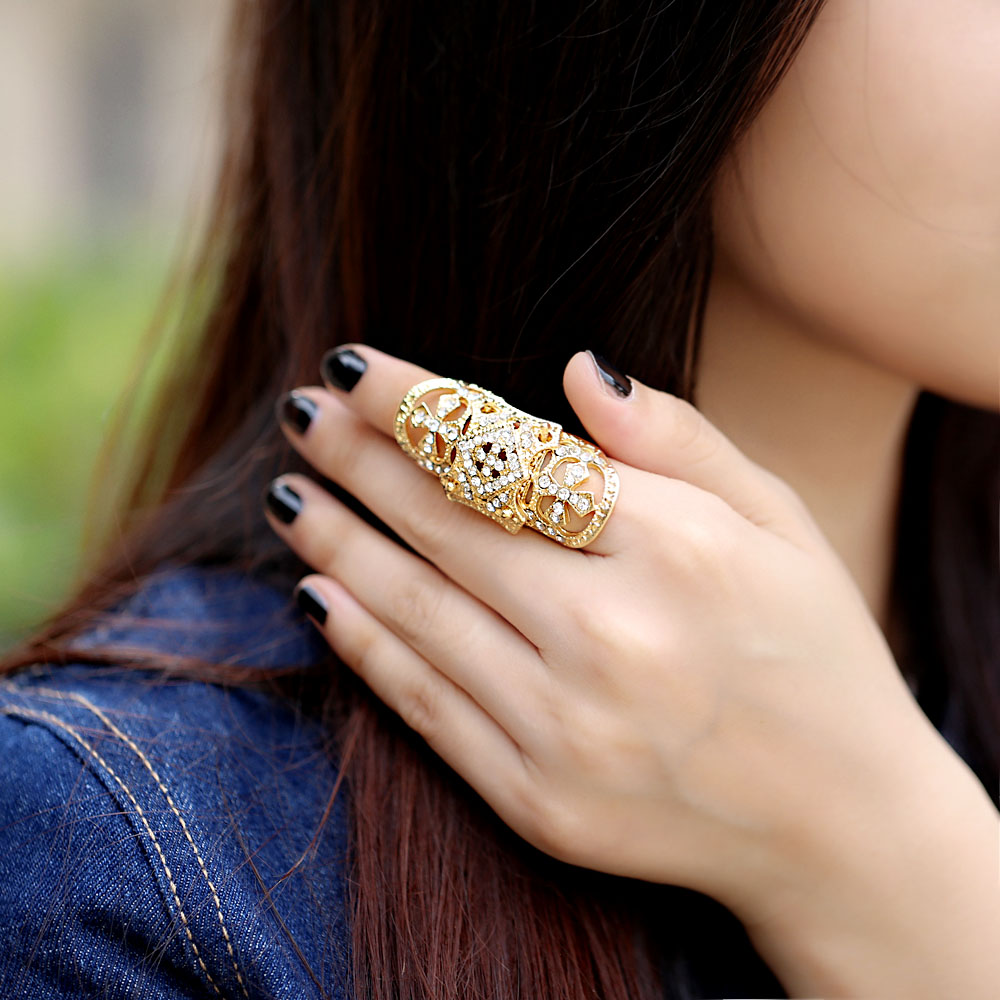 Punk Western Style Rhinestone Armor Joint Finger Cross Ring For Women Men Fashion Hinged Jewelry Best gift Silver Golden(China (Mainland))
